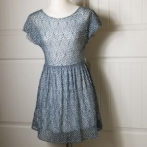 Anthro Weston Wear Blue Cream Polka Dot Dress XS